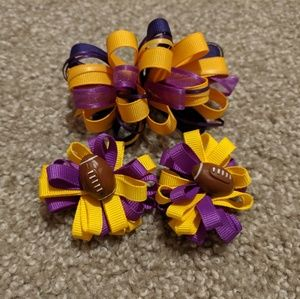 Set of 3 LSU themed hair bows